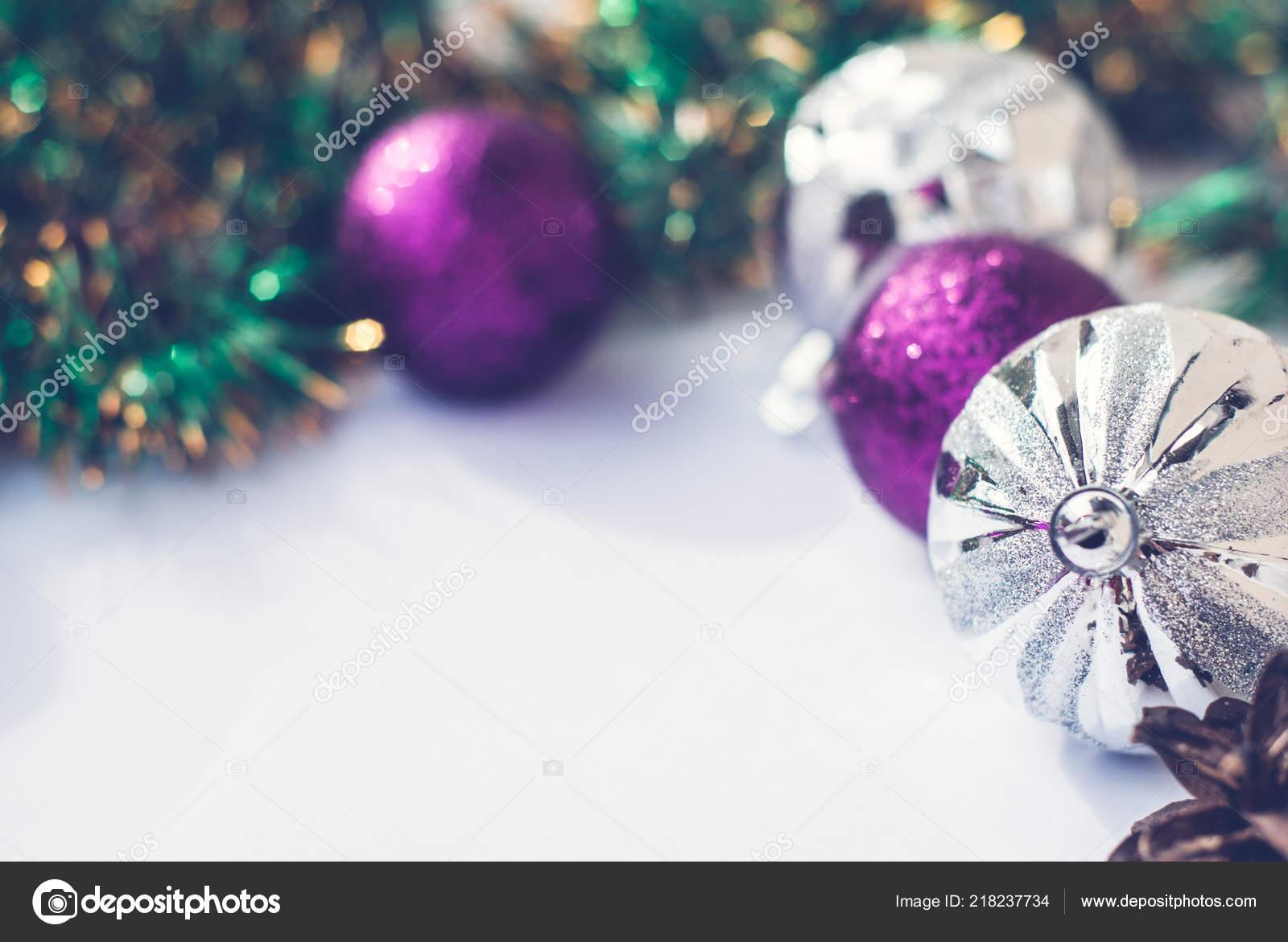 Purple And Silver Christmas Trees.Christmas Tree Purple Silver Decorations Balls White Retro