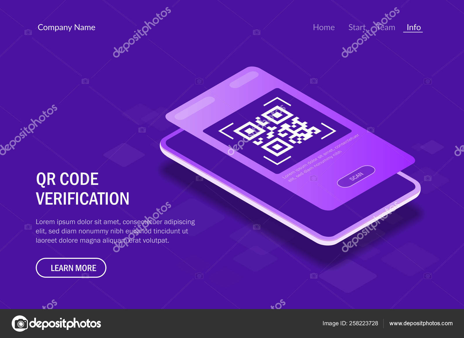 Qr Code Verification Concept  Mobile phone with a scanner
