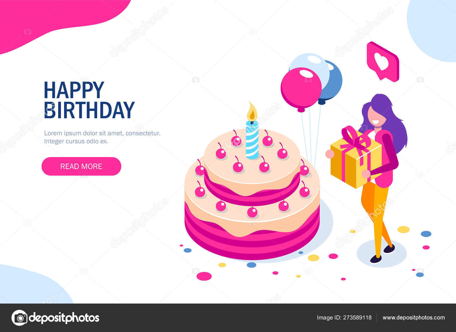 Sensational Big Birthday Cake Isometric Concept Happy Girl With A T In Funny Birthday Cards Online Unhofree Goldxyz
