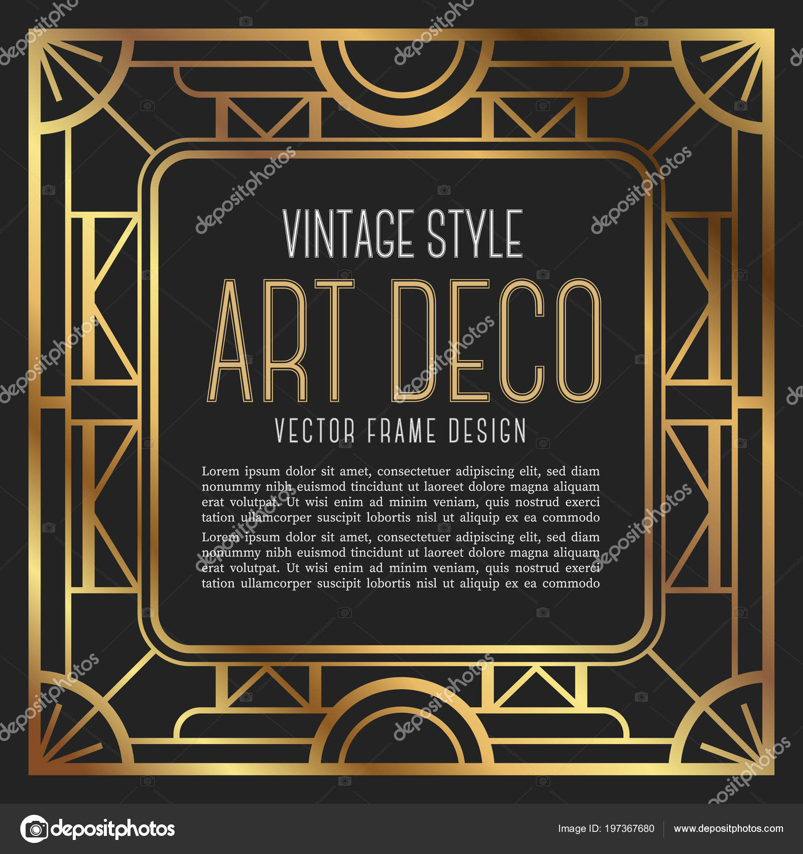 Luxury Vintage Frame Art Deco Style Vector Illustration Stock