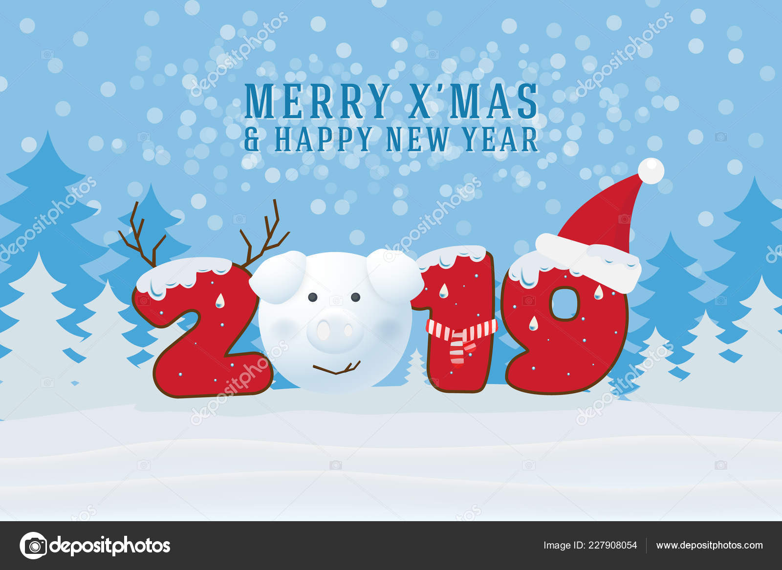 Merry Christmas Happy New Year 2019 Christmas Greeting Card ...