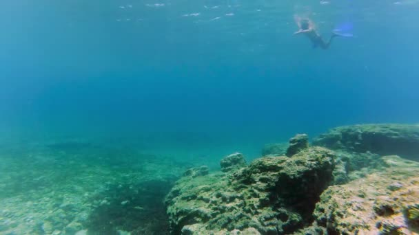 Man dive underwater with snorkel and mask