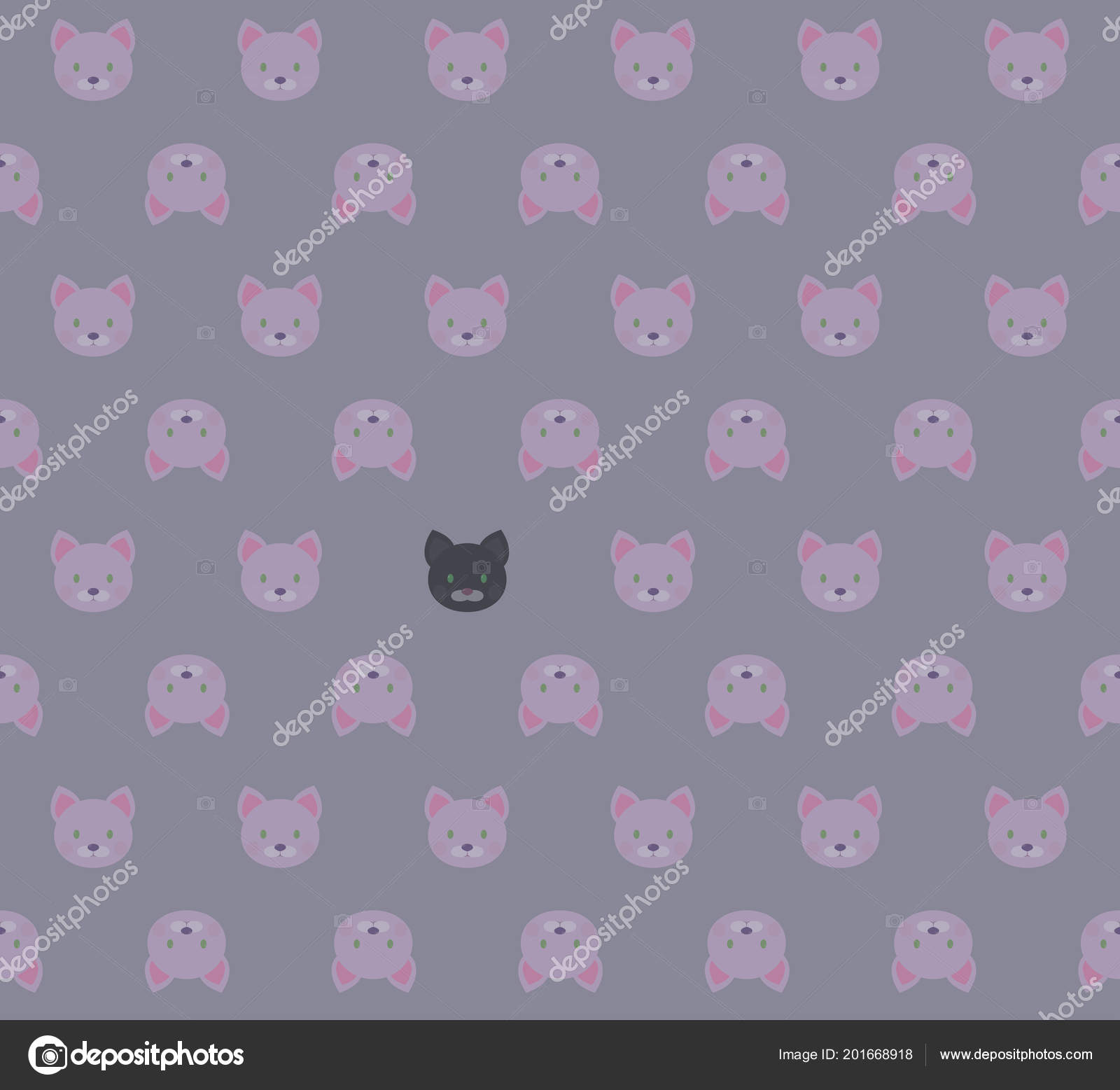 Sans Soudure Cartoon Blanc Rose Chatons Et Chat Noir Sur