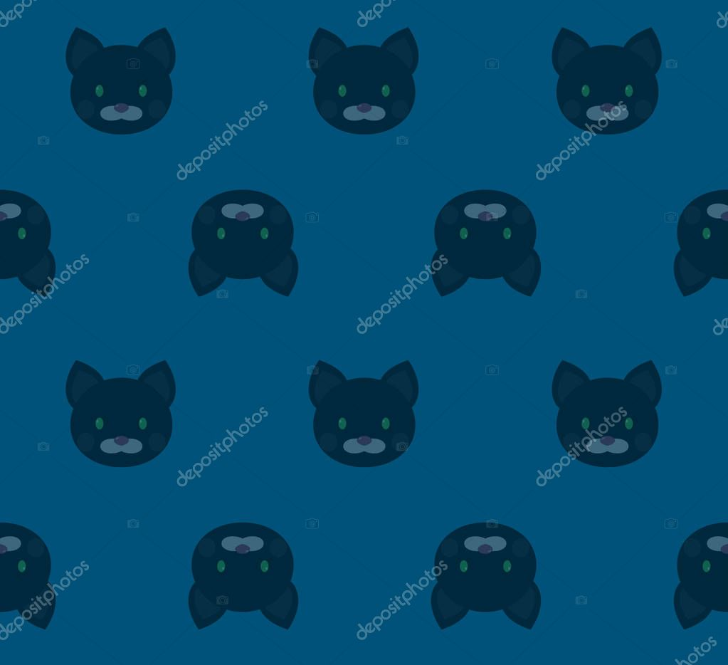 Seamless Pattern Cartoon Black Cats On Blue Background Fabric Wallpapers Or Gift Wrapping Paper Premium Vector In Adobe Illustrator Ai Ai Format Encapsulated Postscript Eps Eps Format