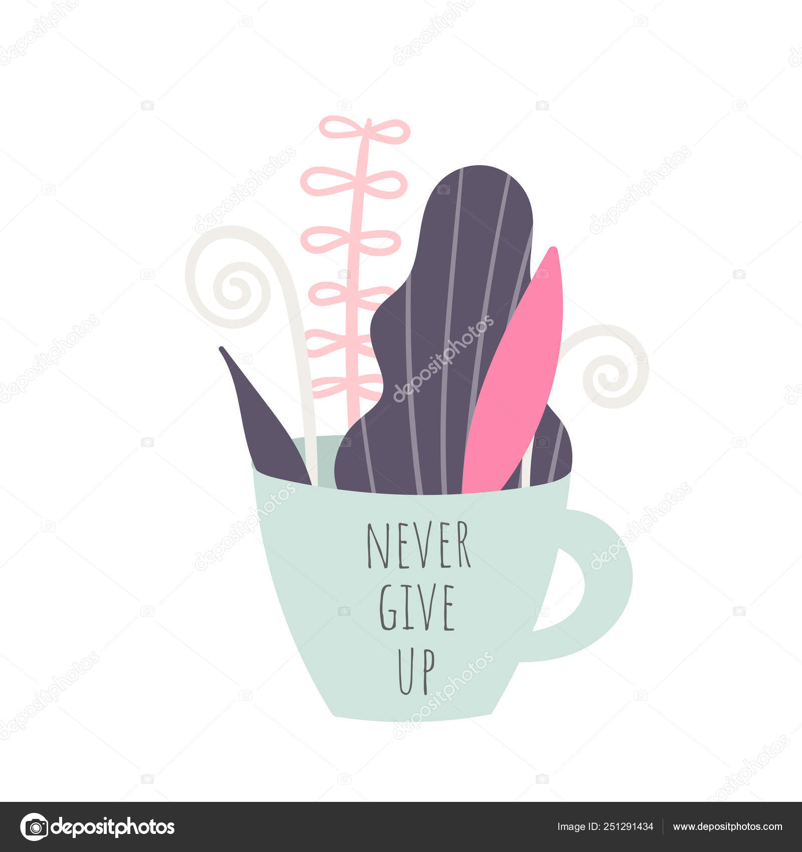 Nunca Desista Frase Motivacional Slogan Citação Copo Com
