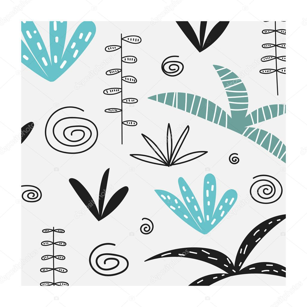 Card, postcard, wall print with tropical plants, palm trees, abstracts elements.
