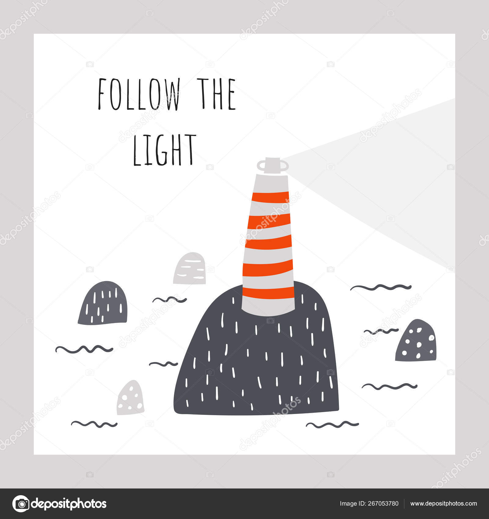 Lighthouse On The Rock In The Sea Follow The Light Positive