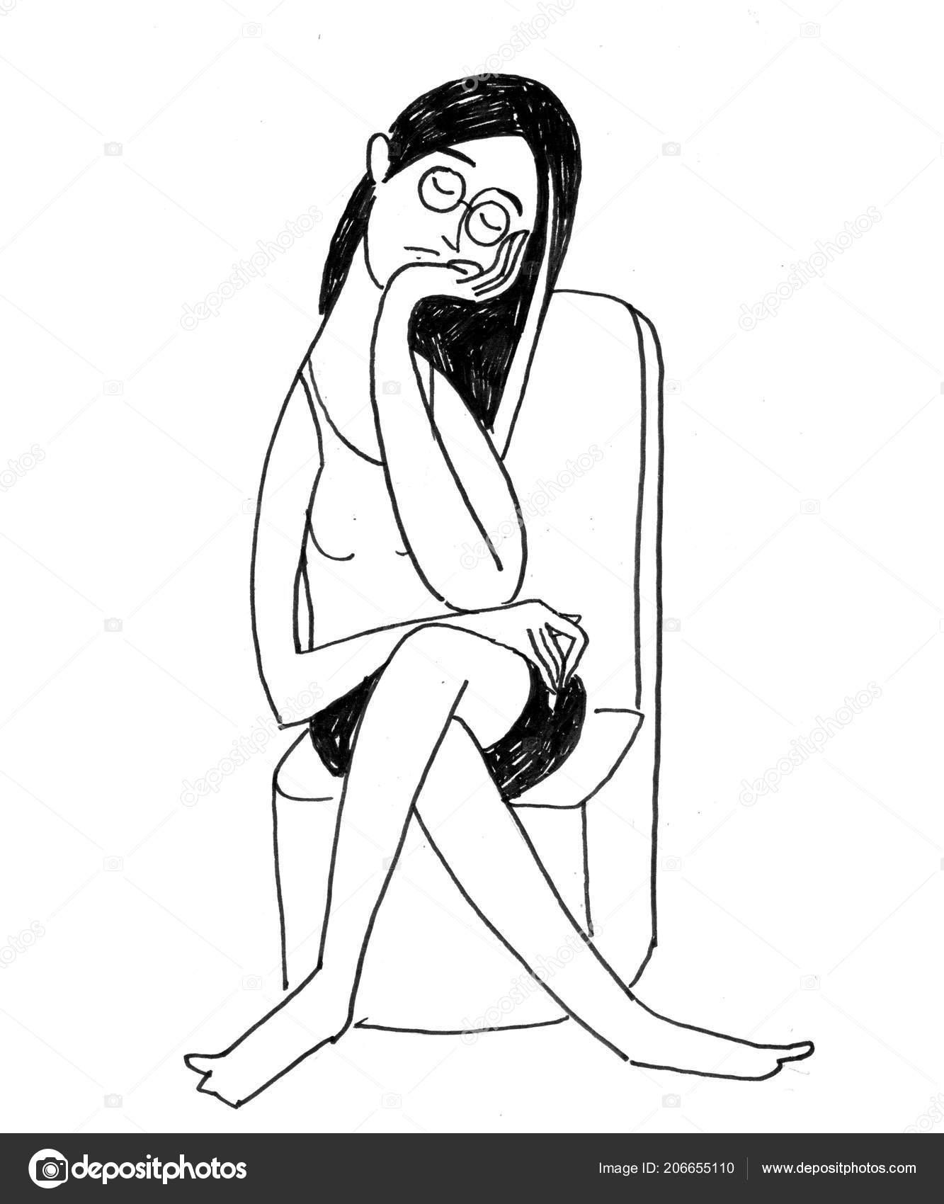 Sketch girl with glasses black white sketch girl glasses