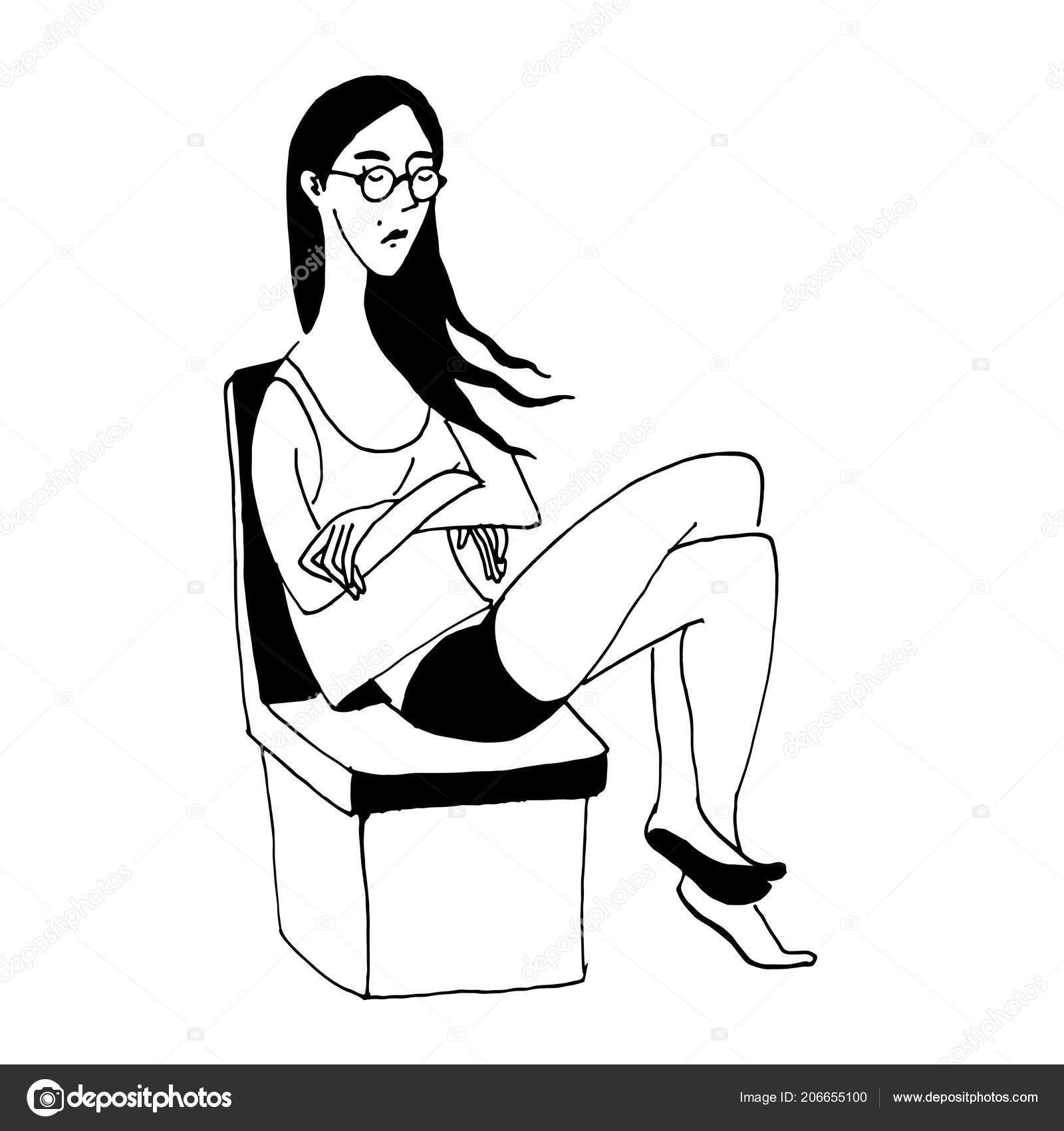 Vector black white sketch girl glasses sits chair sleeping