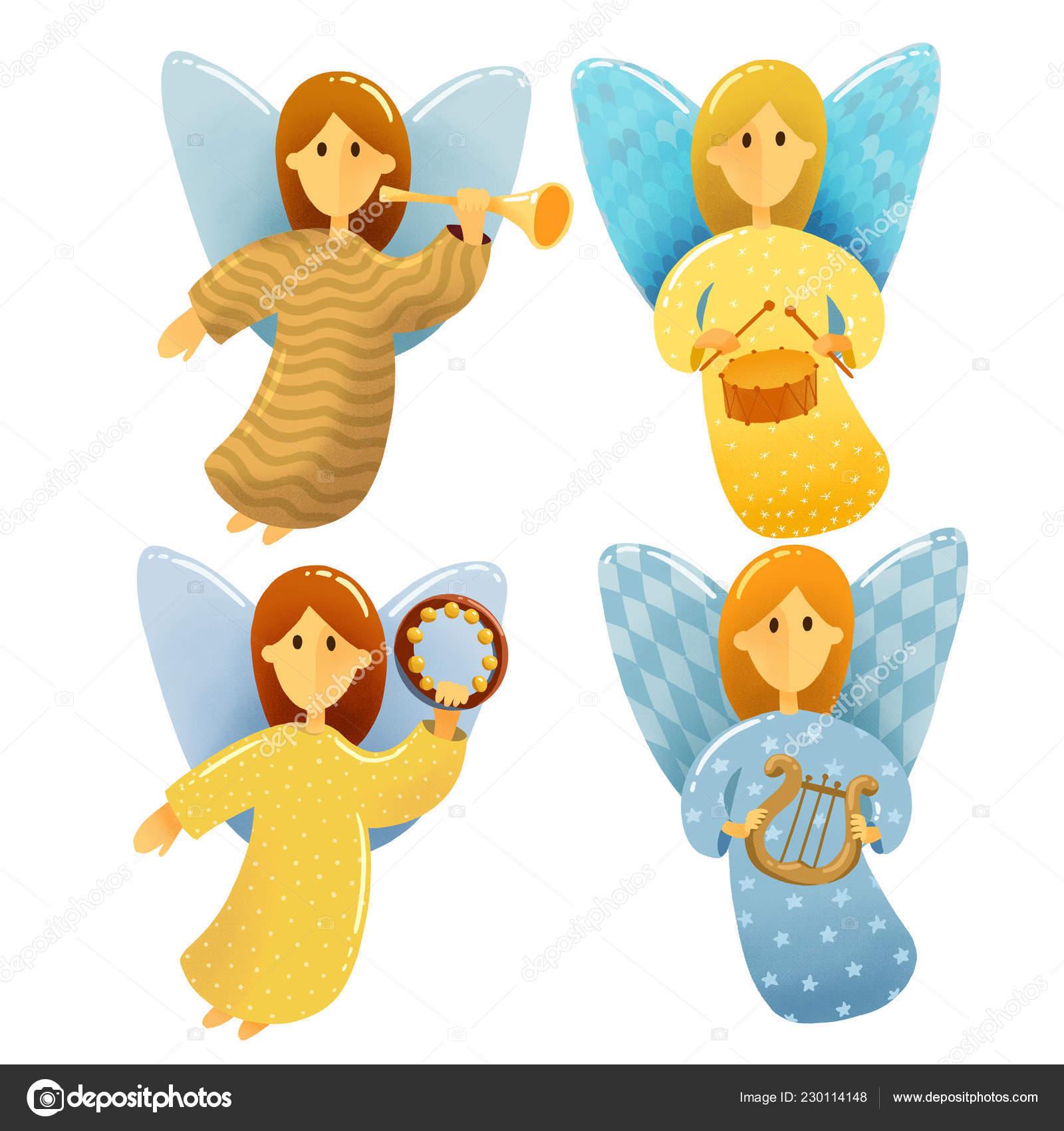 Christmas Scene Drawing For Kids.Digital Drawing Christmas Scene Set Little Angels Wings Hold