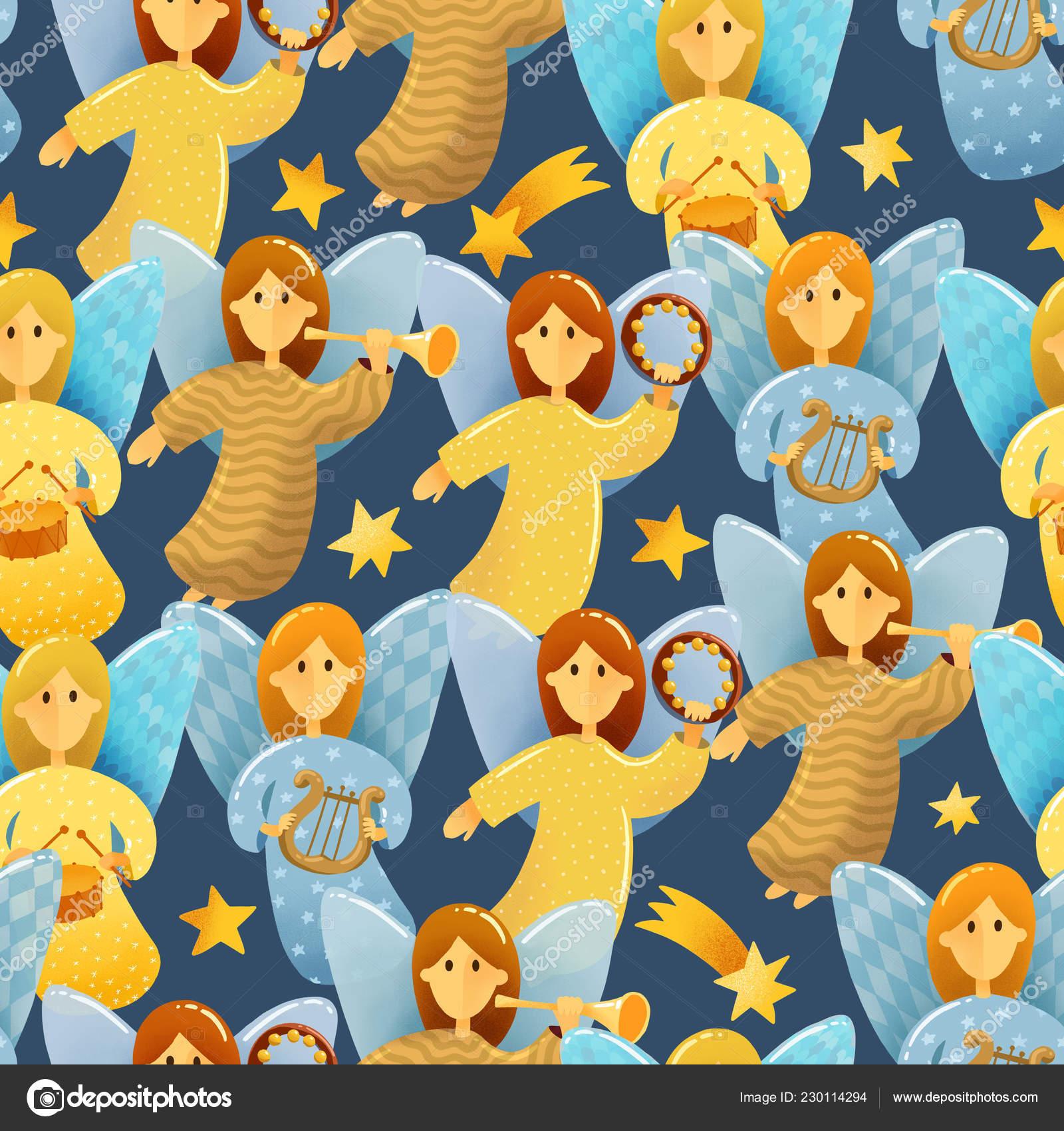 Christmas Scene Drawing For Kids.Digital Drawing Christmas Scene Seamless Pattern Little