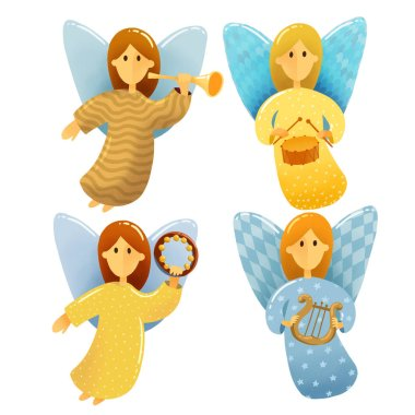 Digital drawing Christmas scene. Set of  little angels with wings hold a musical instruments drawing in kids stile on white background. Illustrations of Christmas toys isolated on white background