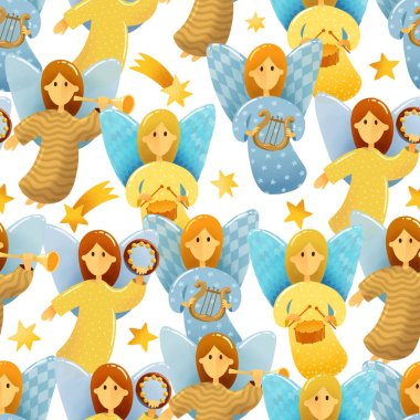 Digital drawing Christmas scene. Seamless pattern of  little angels with wings hold a musical instruments drawing in kids stile on white background. Illustrations of Christmas toys isolated on white background
