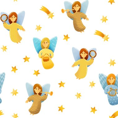 Digital drawing Christmas scene. Seamless pattern of  little angels with wings hold a musical instruments drawing in kids stile on white background with stars