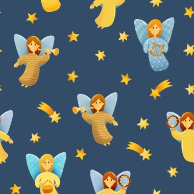 Digital drawing Christmas scene. Seamless pattern of  little angels with wings hold a musical instruments drawing in kids stile on dark background. Dark starlight night with angels