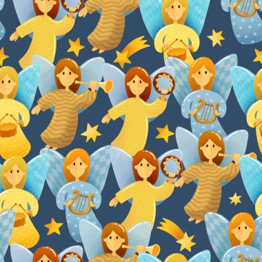 Digital drawing Christmas scene. Seamless pattern of  little angels with wings hold a musical instruments drawing in kids stile on dark background. Illustrations of Christmas toys isolated on dark background