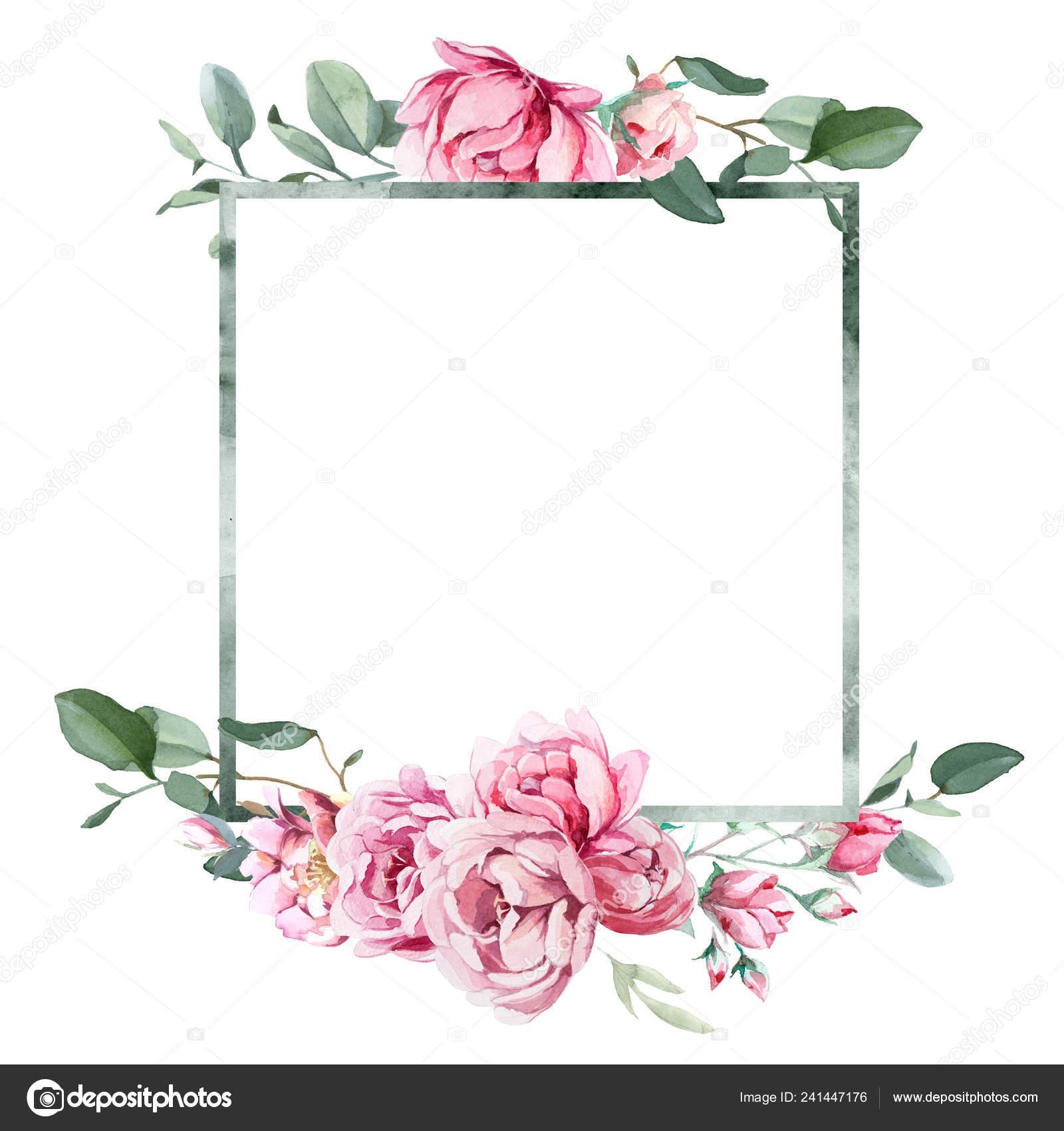 Watercolor Illustration Light Pink Flowers Green Leaves Frame