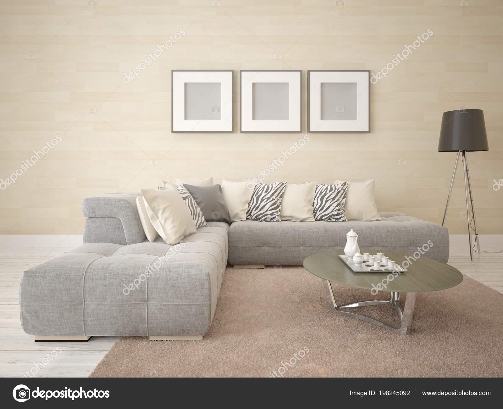 Mock Stylish Living Room Light Corner Sofa Fashionable Background ...