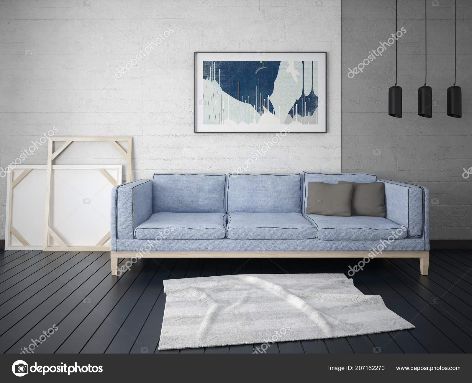 Mock Eine Perfekte Wohnzimmer Mit Ein Trendiges Sofa Und Einem