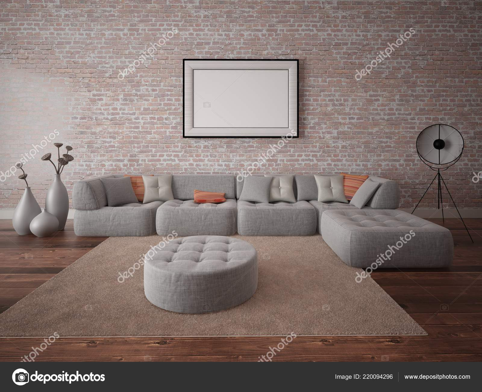 official photos 7be23 799c3 Mock Stylish Living Room Comfortable Corner Sofa Brick Wall ...