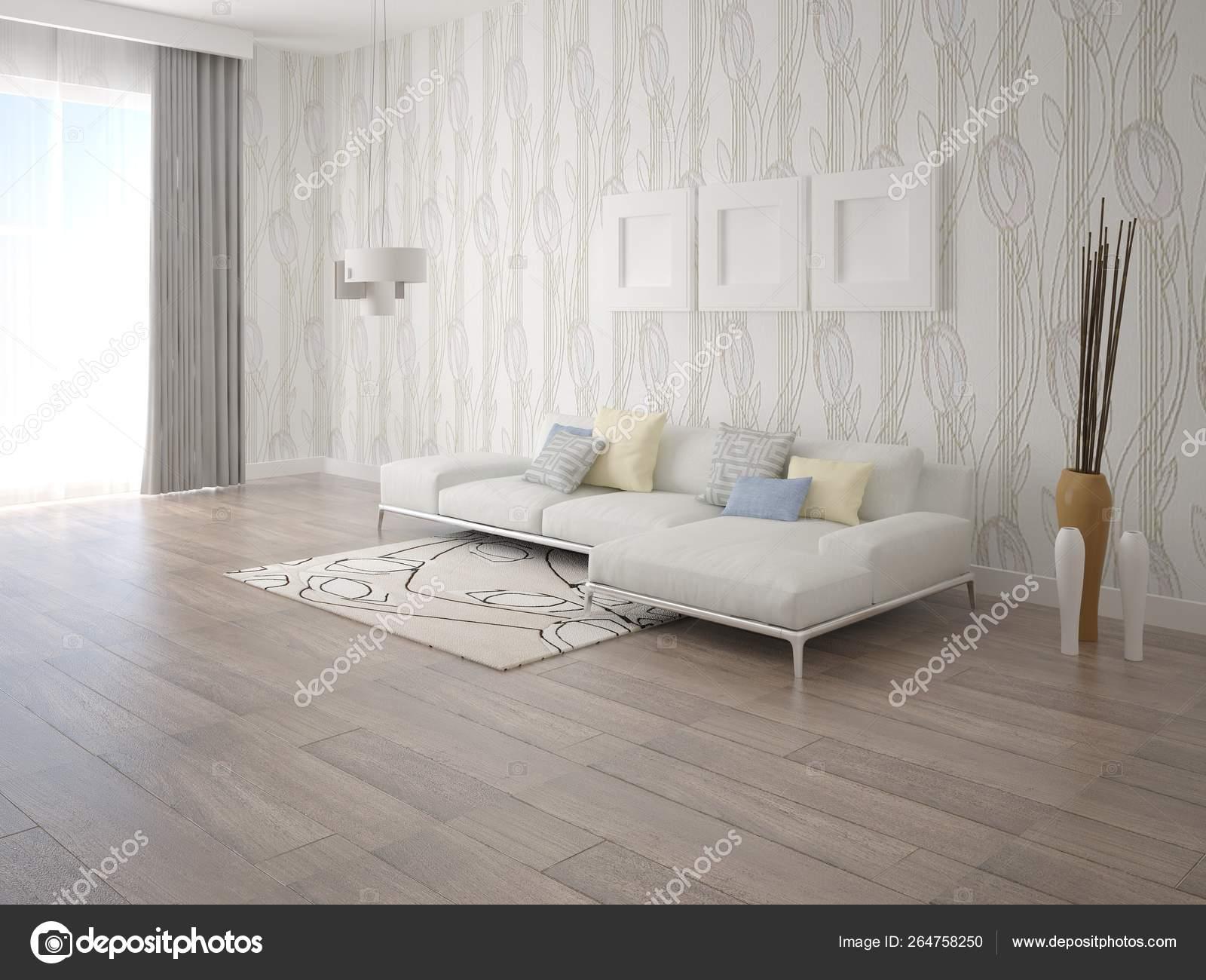 Mock Modern Living Room Stylish Corner Sofa Trendy Light Wallpaper Stock Photo Image By C Wodoplyasov 264758250