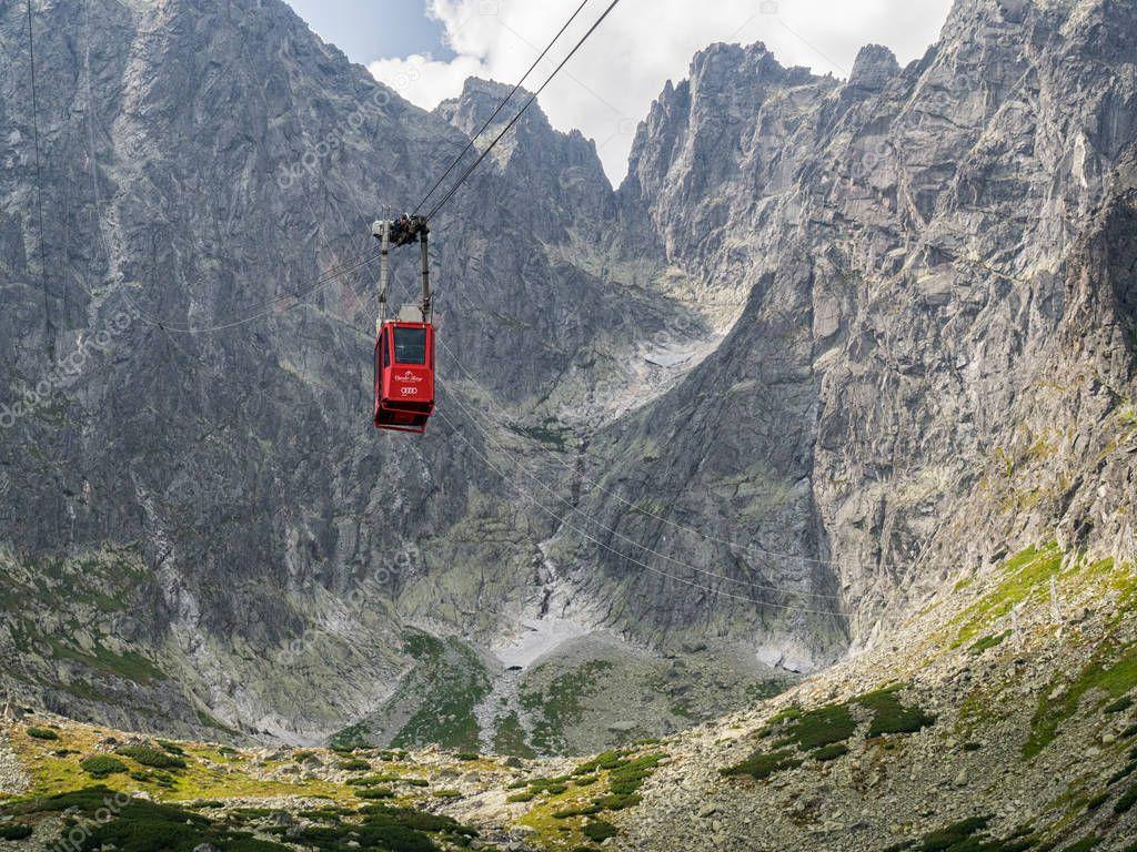 TATRANSKA LOMNICA, SLOVAKIA - August, 2017: Ropeway from Skalnate Pleso to Lomnicky Peak in High Tatra Mountains, Slovakia