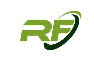 RF Logo Swoosh Ellipse Green Letter Vector Concept