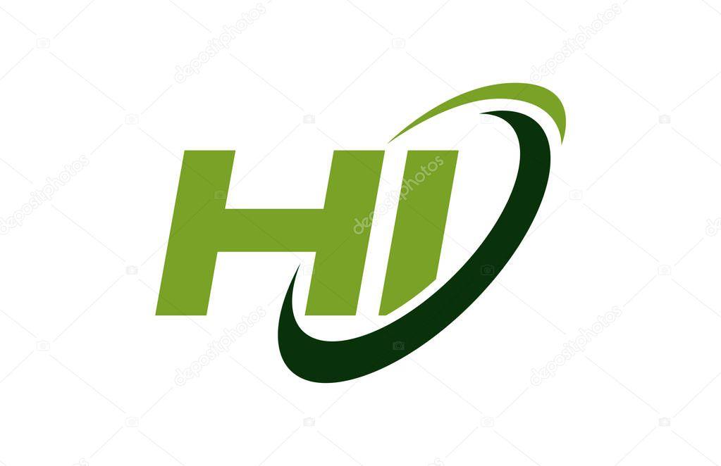 HI Logo Swoosh Ellipse Green Letter Vector Concept