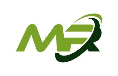 MR Logo Swoosh Ellipse Green Letter Vector Concept