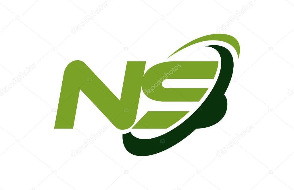 NS Logo Swoosh Ellipse Green Letter Vector Concept