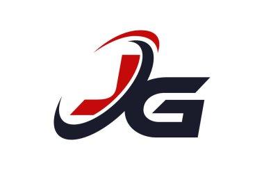 JG Logo Swoosh Global Red Letter Vector Concept