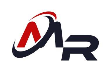 MR Logo Swoosh Global Red Letter Vector Concept