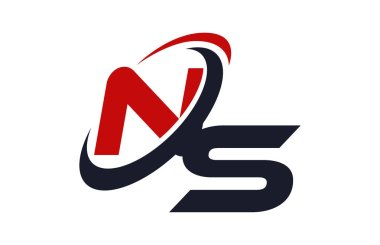 NS Logo Swoosh Global Red Letter Vector Concept