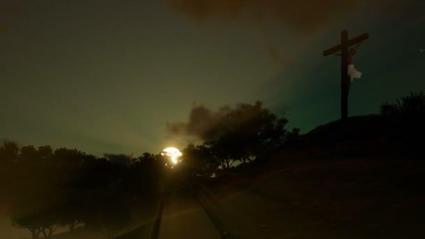 Jézus kereszt ellen gyönyörű naplemente