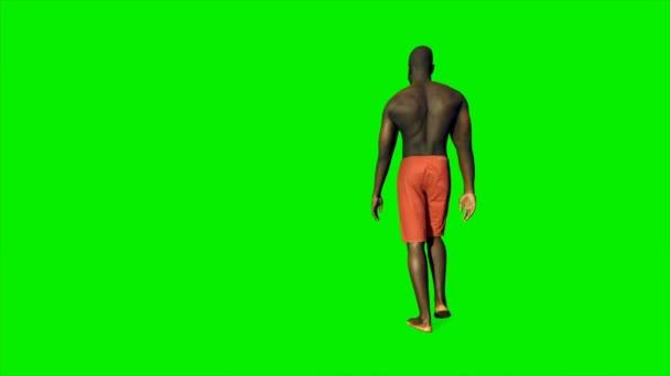 Afroamerikaner in kurzen Hosen läuft gegen grünen Bildschirm