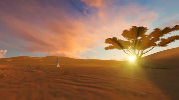 Arab man walking through the desert towards oasis at sunset, panning
