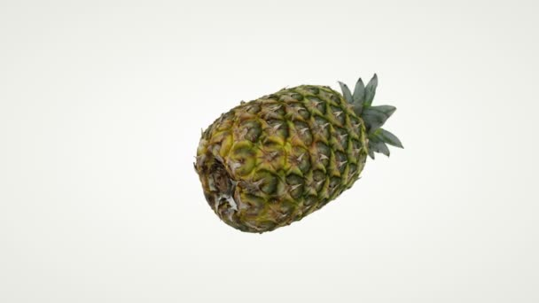 Close up of pineapple rotating, seamless loop, against white
