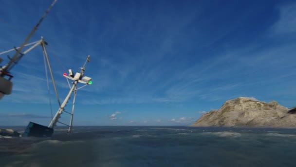Ztroskotání lodi při západu slunce, posádka plave ke skalnatému ostrovu