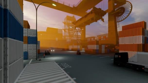 Werftbetrieb, Kräne und Lastkraftwagen fahren vorbei