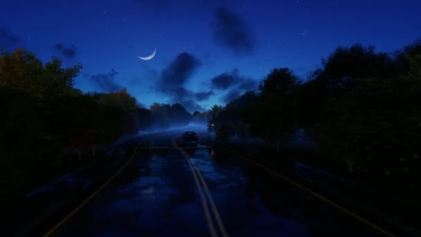 Car passing by on a slippery road, starry night and moon ahead