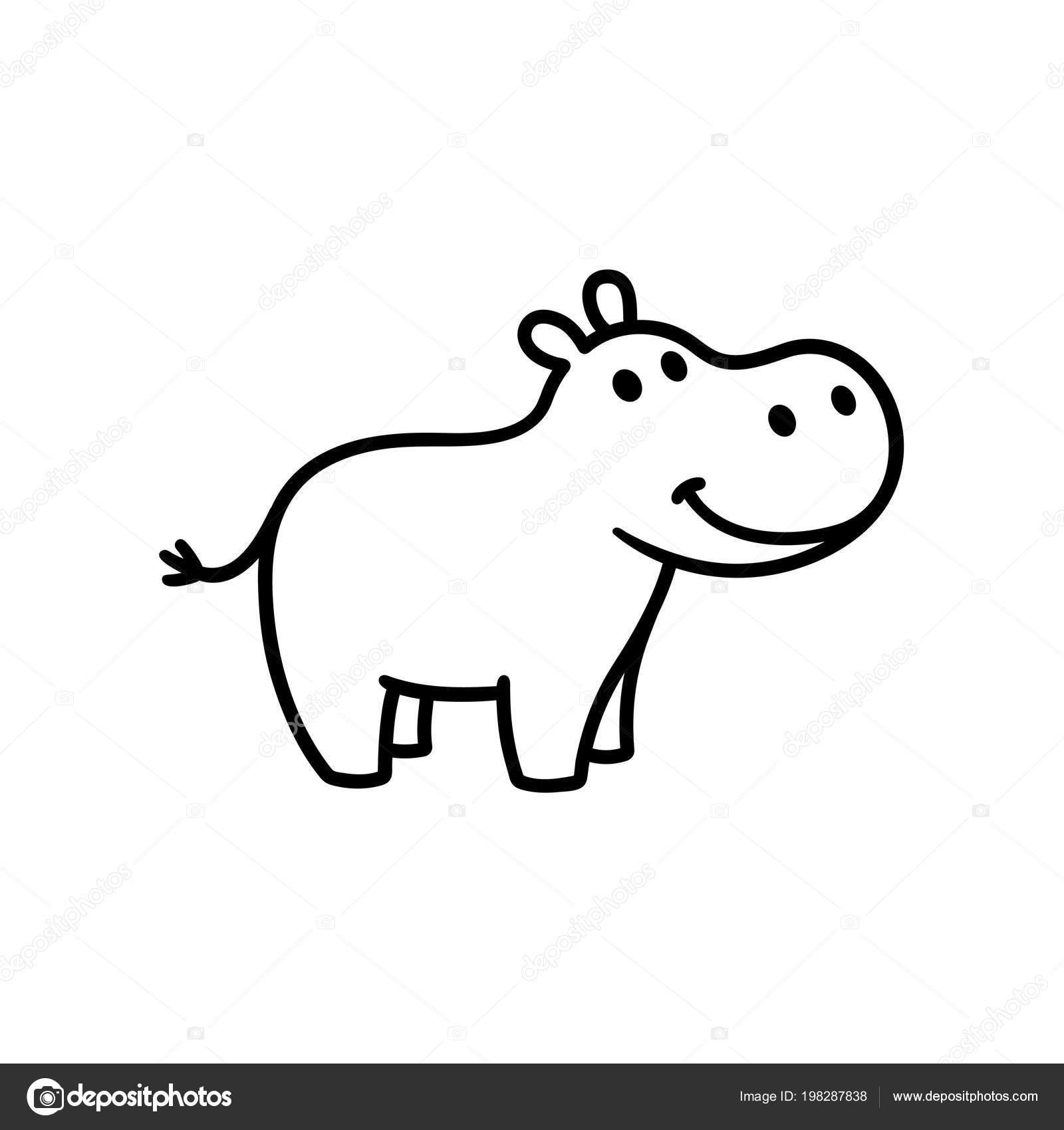 Lindo Hipopótamo Pequeño Dibujo Ilustración Arte Línea Para Colorear ...