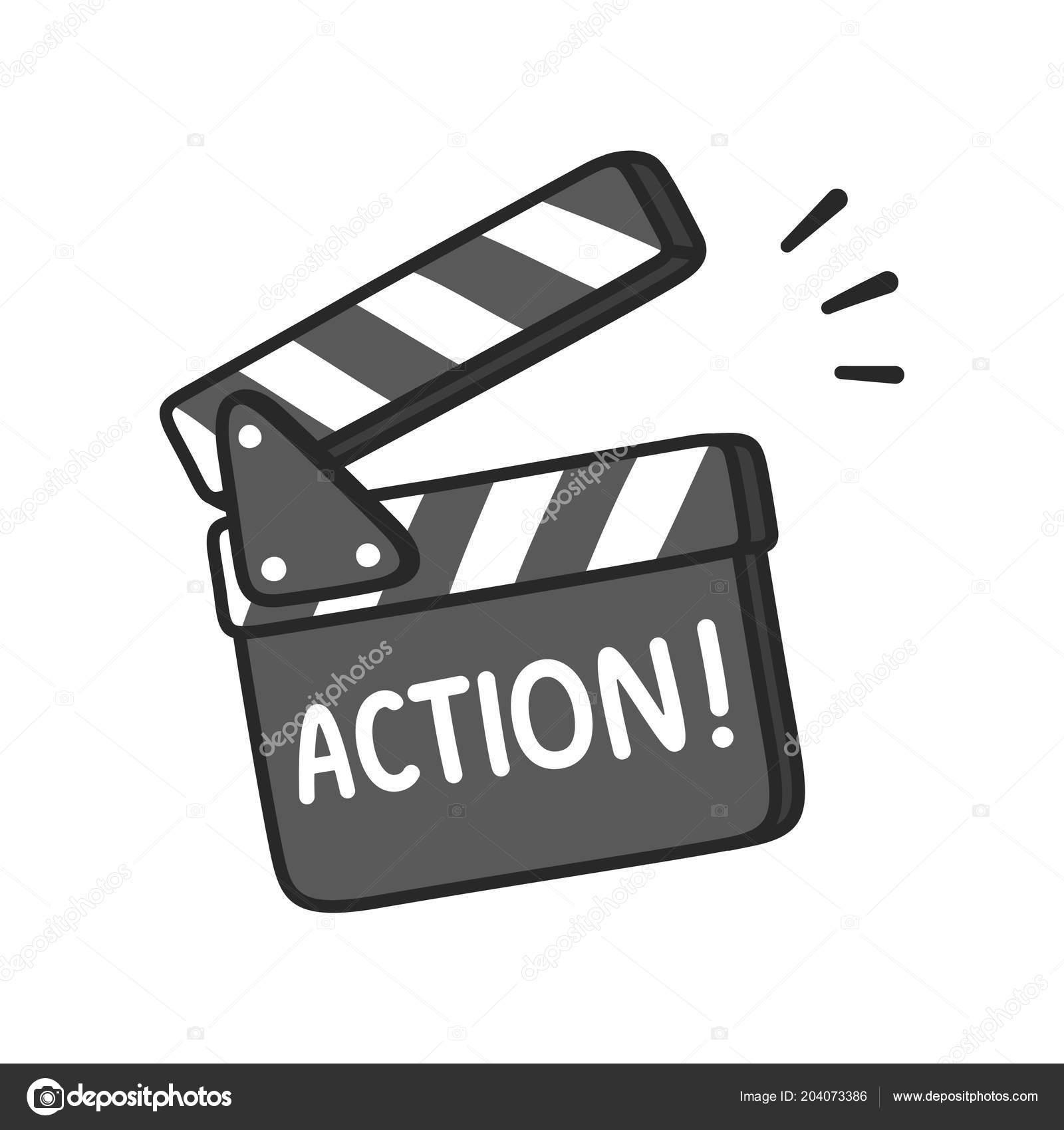 Luces Cámara Acción Tablilla Con Texto Para Hacer Película Mano