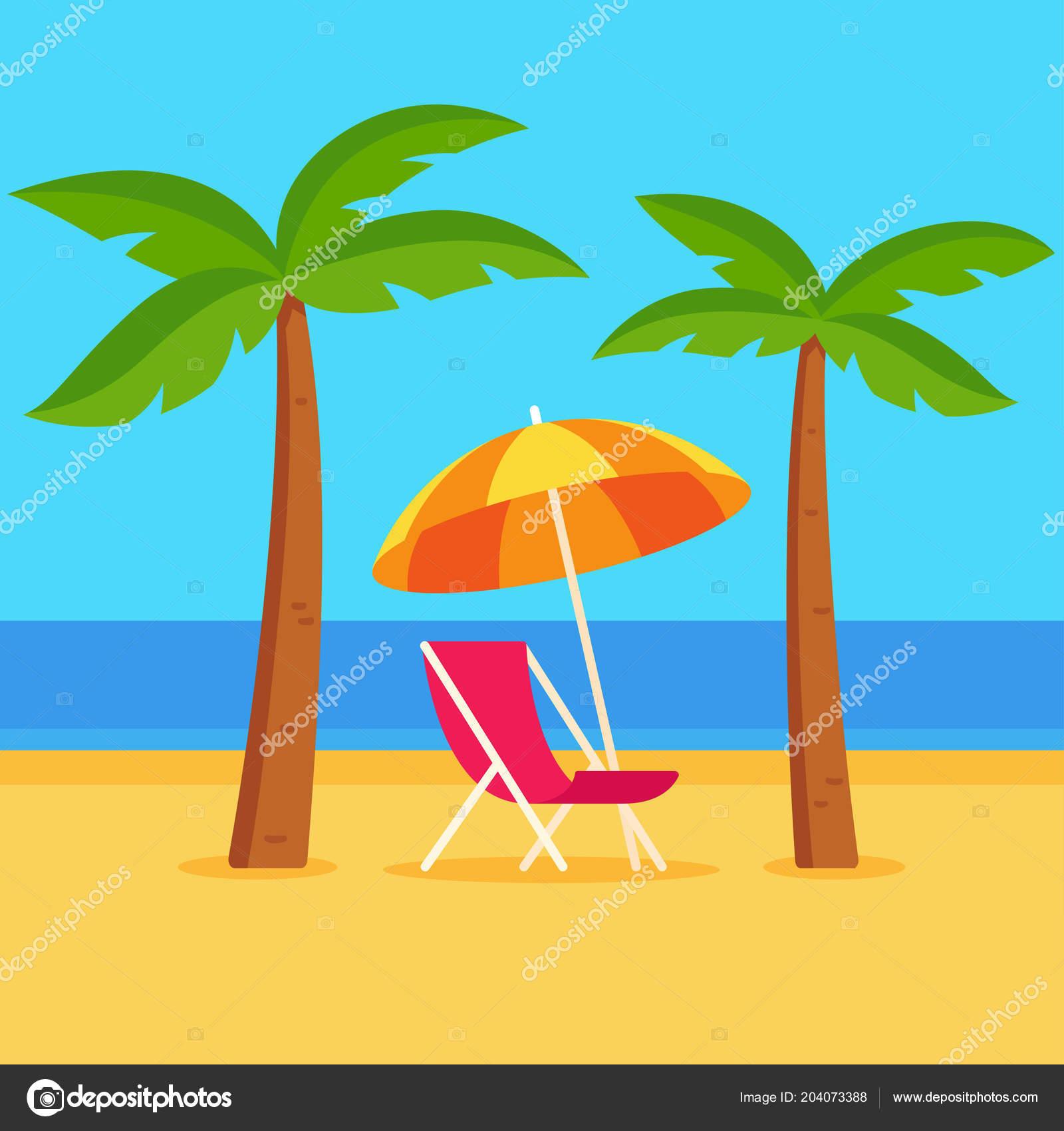 Simple Beach Chair Drawing Tropicl Summer Vacation Vector Illustration Beach Scene Umbrella Beach Chair Stock Vector C Sudowoodo 204073388