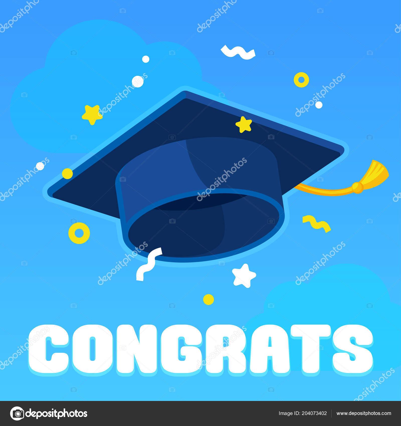 graduate hat tossed sky confetti graduation celebration banner text