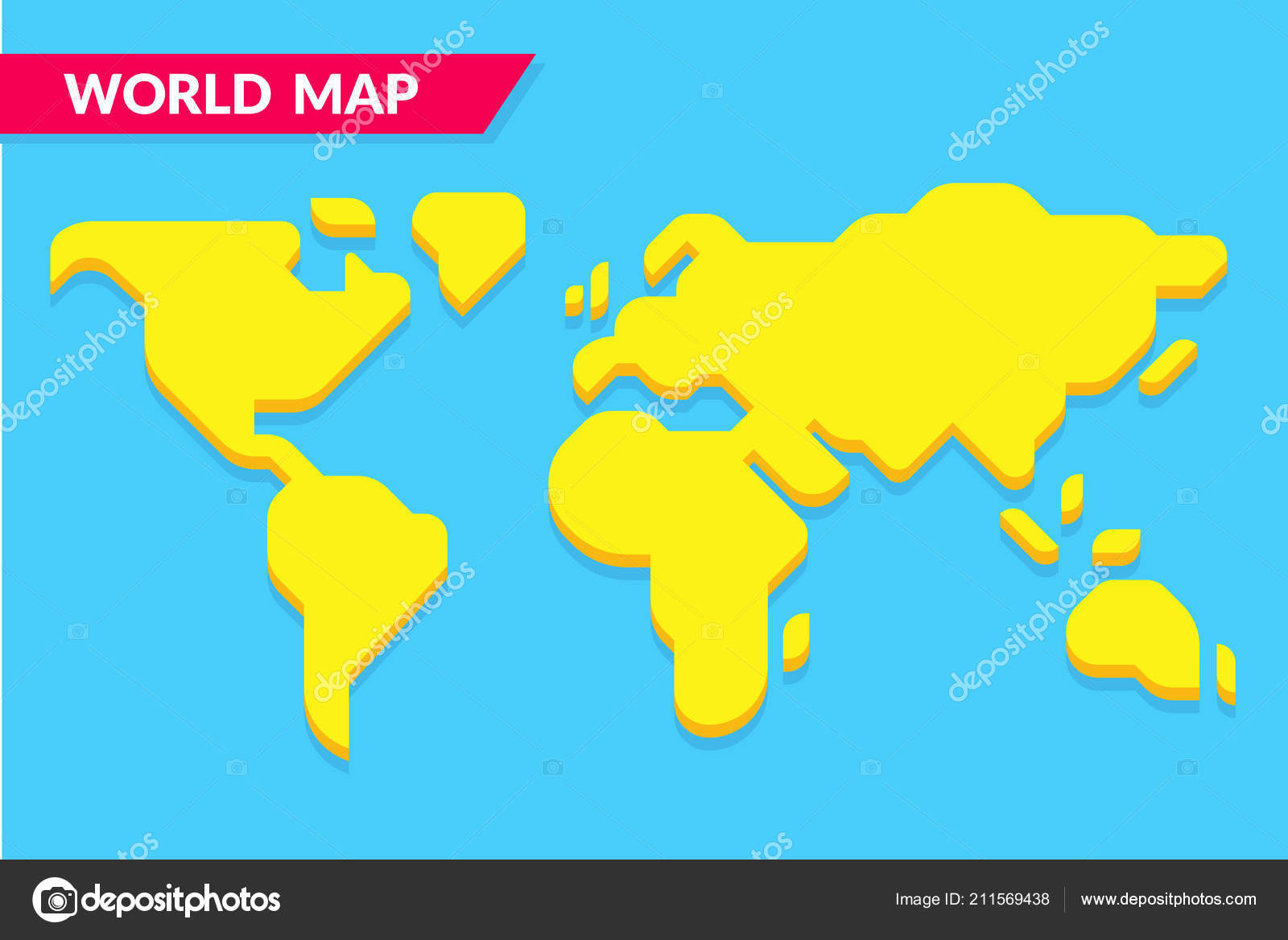 Simple Stylized World Map Silhouette Modern Minimal Style Isolated ...