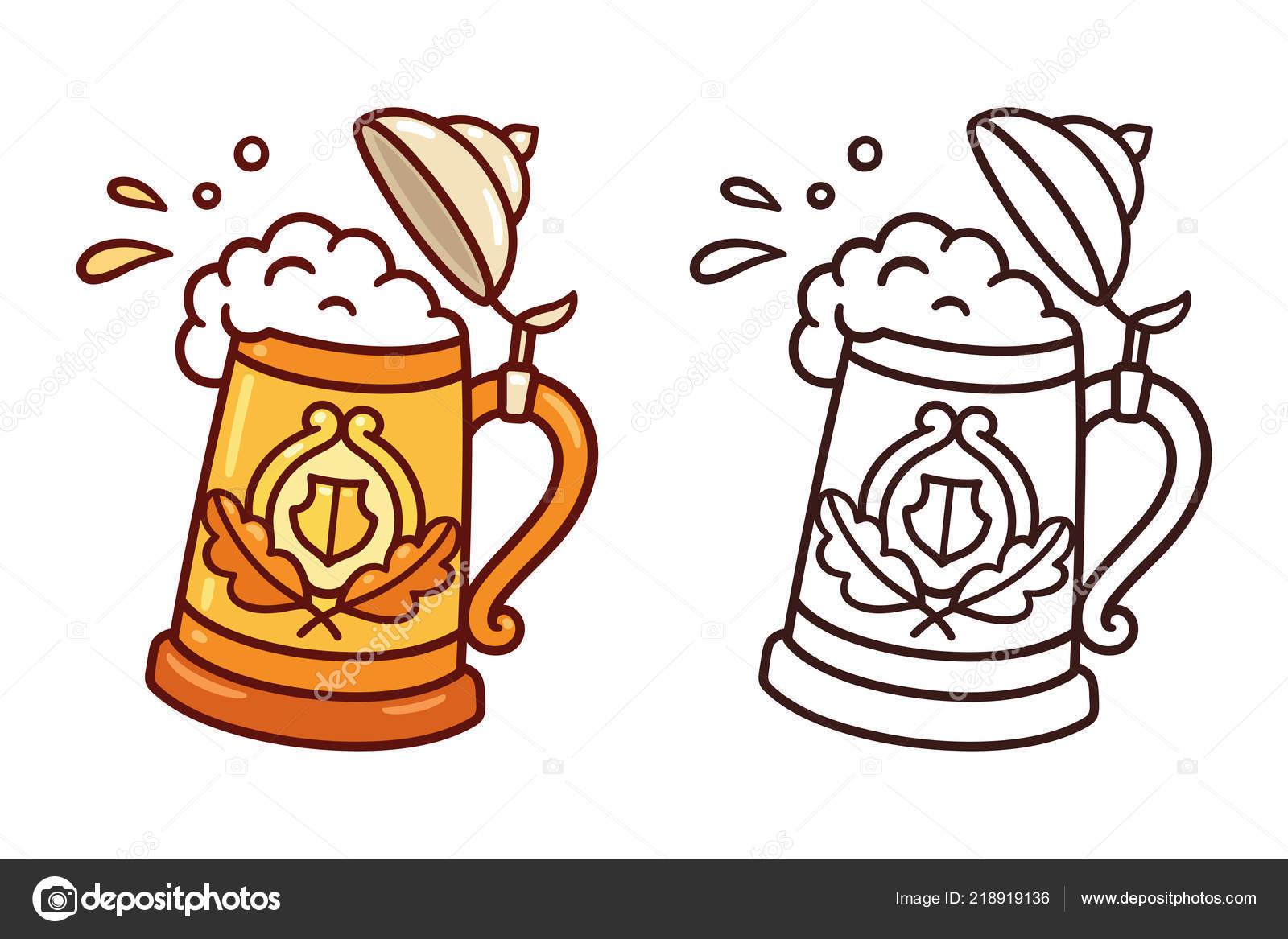 Clipart German Beer Traditional Oktoberfest Stein Beer Mug Splashes Foam Beer Cartoon Doodle Stock Vector C Sudowoodo 218919136