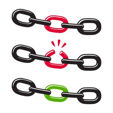 Chain with weak and strong link, security and strength concept. Vector clip art illustration.