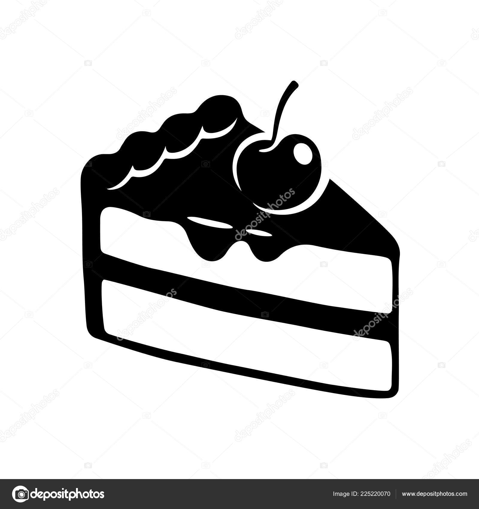 Hand Gezogene Kuchen Slice Symbol Schwarz Weiss Kuchen Mit Kirschen