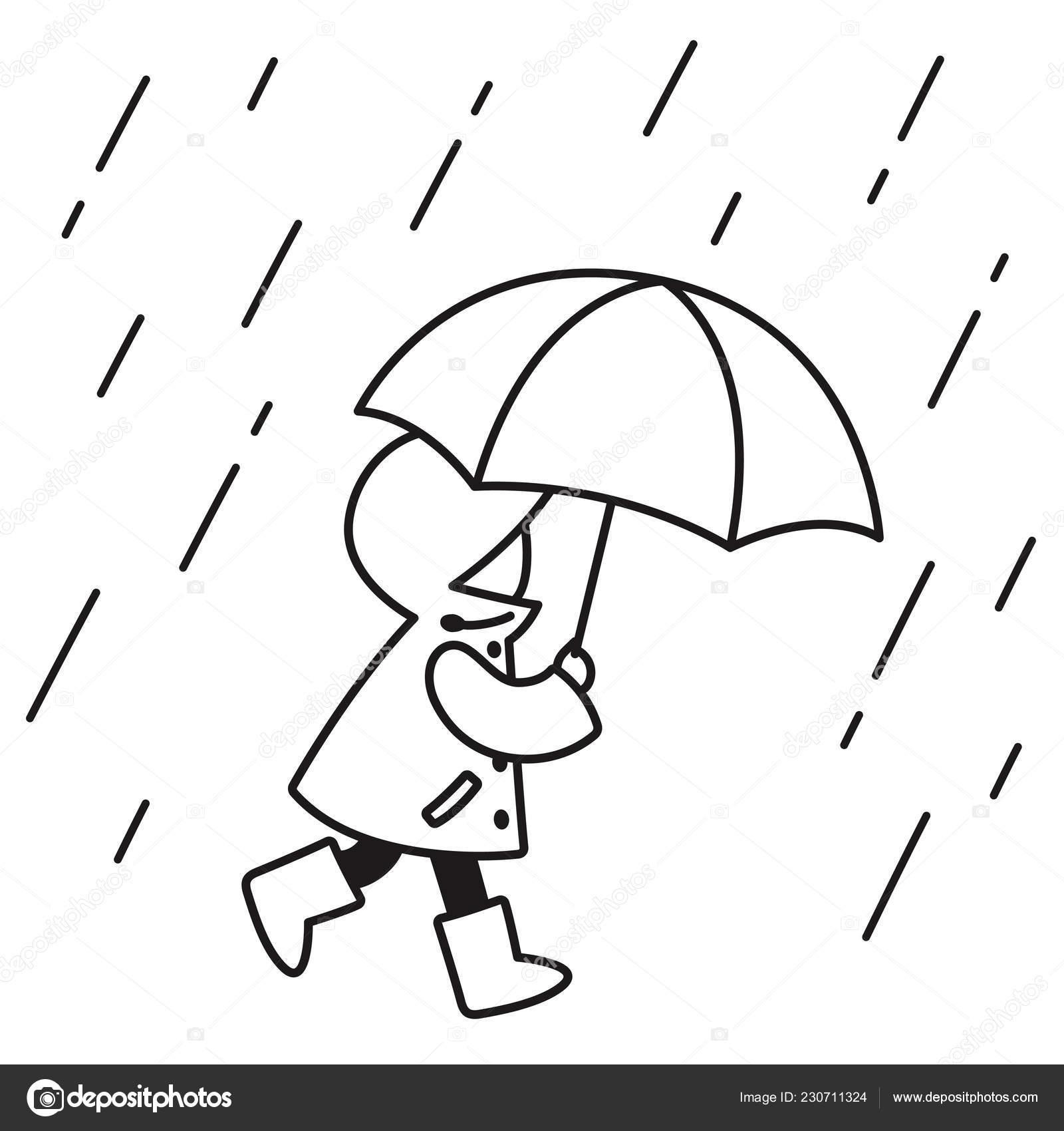Coloriage Petite Fille Parapluie.Dessin Trait Noir Blanc Petit Enfant Avec Impermeable