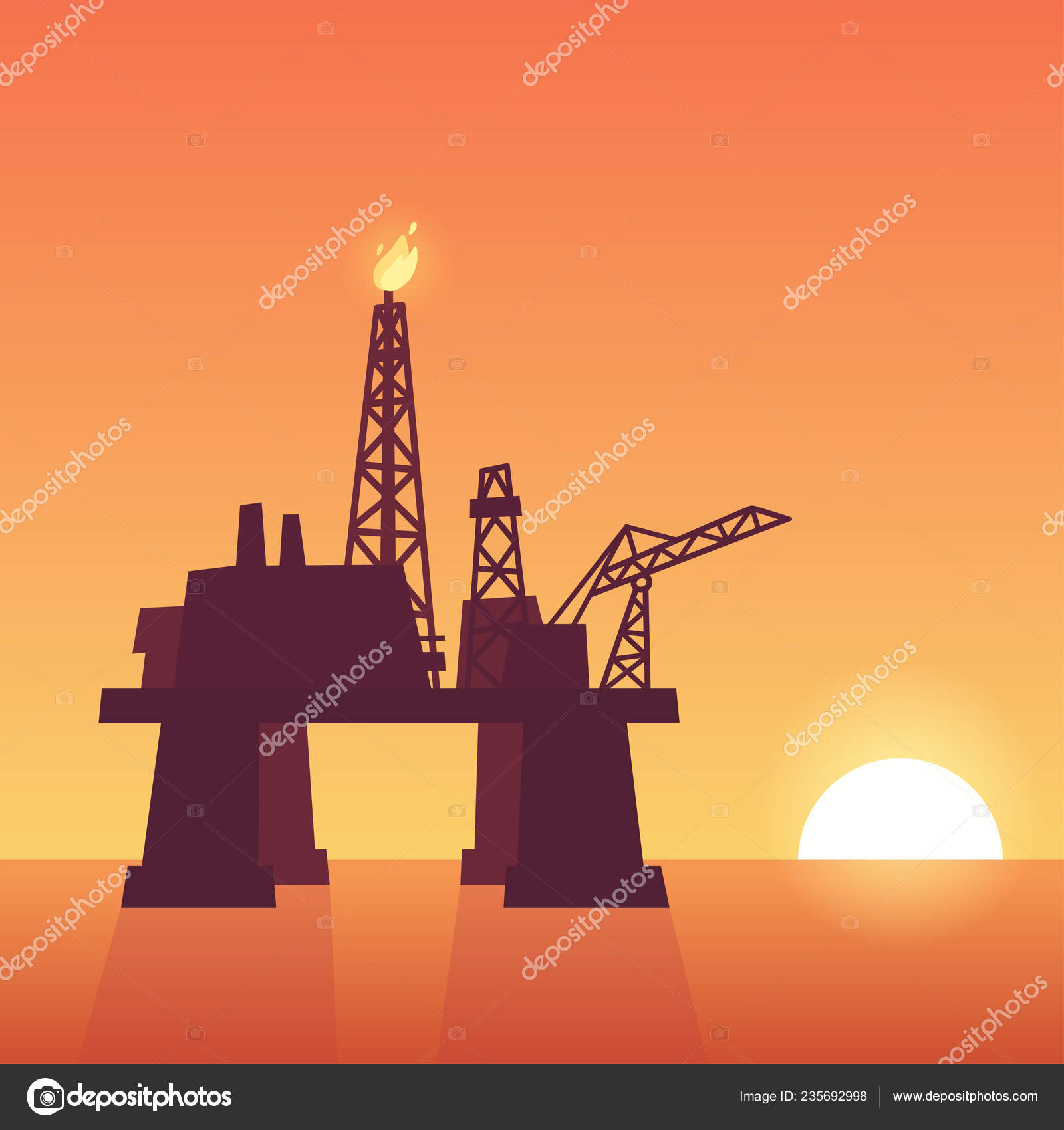 Oil Extraction Rig Sunset Offshore Drilling Platform